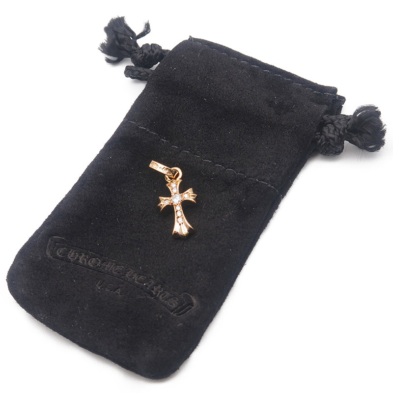 Chrome Hearts Baby Fat Cross Charm Pave Diamond Gold 22K-dct-ep_vintage luxury Store