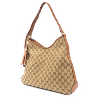 GUCCI GG Canvas Leather Shoulder Bag Beige Brown 257026-dct-ep_vintage luxury Store