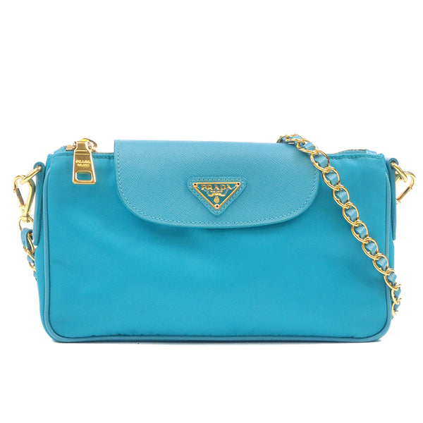 PRADA Nylon Nylon Leather Chain Shoulder Bag Turquoise Blue