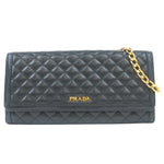 Authentic PRADA Leather Chain Wallet Black 1MT290