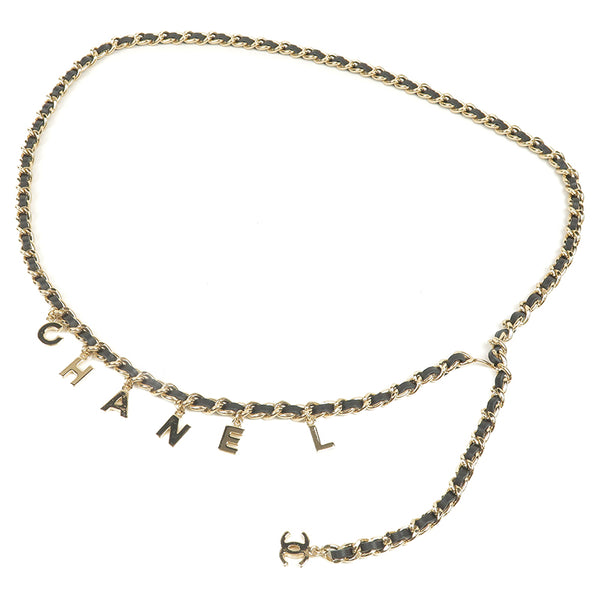 CHANEL CoCo Mark Logo Charm Leather Chain Belt Champagne Gold 10V