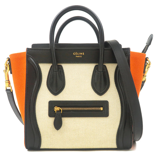 CELINE Luggage Nano Shopper Canvs Leather 2way Bag 168242