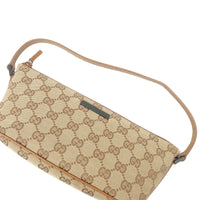 GUCCI GG Canvas Leather Purse Pouch Beige Brown 07198