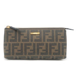 FENDI-Zucca-PVC-Leather-Pouch-Khaki-Black-7N0074