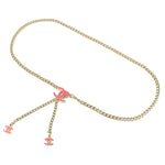 CHANEL CoCo Mark Chain Belt Champagne Gold Pink 04A