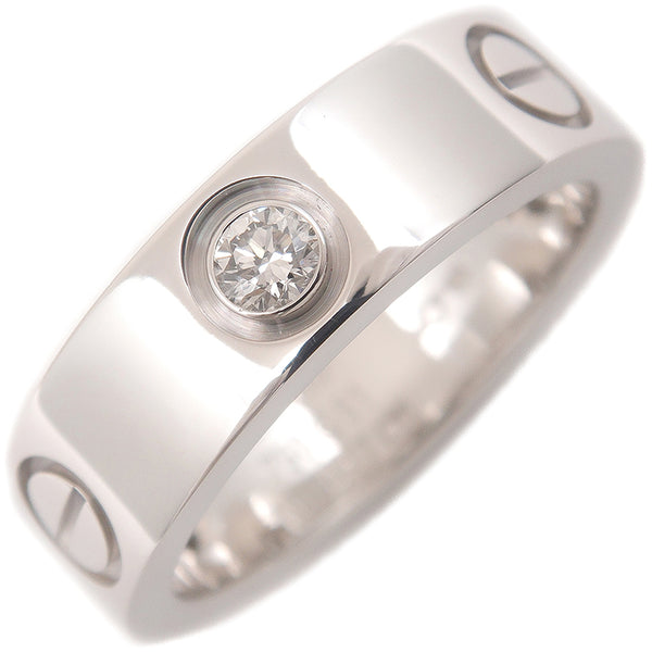 Cartier Love Ring 3P Half Diamond K18 White Gold #51 US6 EU51.5