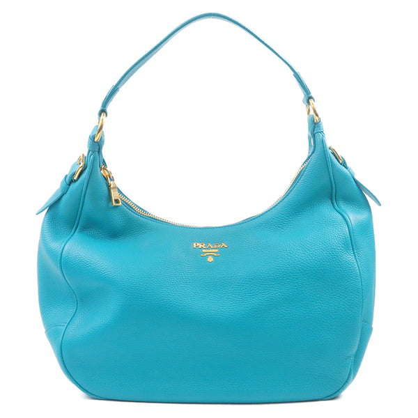 PRADA Leather Shoulder Bag Turquoise Blue M4311M