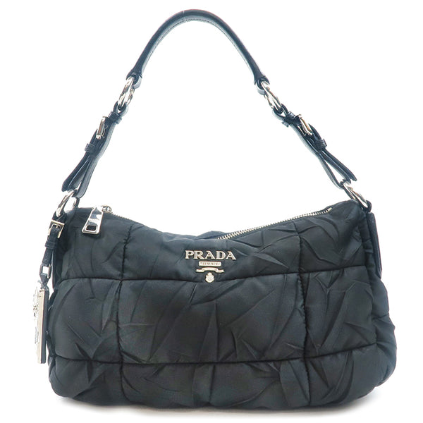 Authentic PRADA Nylon Leather Shoulder Bag Black BR3809