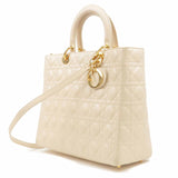 Christian Dior Cannage Lamb Skin 2Way Shoulder Bag Beige