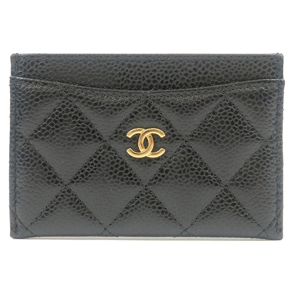 CHANEL Matelasse Caviar Skin Card Case Black Gold A31510