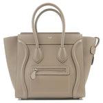 CELINE Luggage Micro Shopper Leather Hand Bag Gray 189793