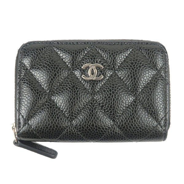 CHANEL-Caviar-Skin-Round-Zipper-Coin-Case-Black-A69271