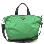 PRADA-Vela-Nylon-Leather-2way-Bag-Shoulder-Bag-Green-Black