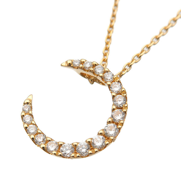 STAR-JEWELRY-Diamond-Necklace-Crescent-Moon-0.10ct-Yellow-Gold