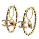 CHANEL-CoCo-Mark-Rhine-Stone-Leather-Hoop-Earrings-Gold-A20C