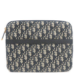 Christian-Dior-Trotter-Canvas-Leather-Pouch-Clutch-Bag-Navy