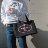 FENDI Zucca Print Nylon Leather Tote Bag White Green Navy-dct-ep_vintage luxury Store