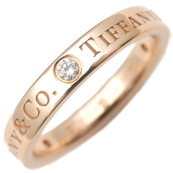 Tiffany&Co. Flat Band 3P Diamond Ring Rose Gold US4 EU46.5-dct-ep_vintage luxury Store