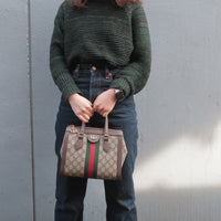 FENDI Zucca Print Canvas Leather Shoulder Bag Brown