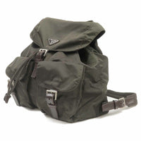 PRADA Nylon Leather Back Pack Khaki B2811
