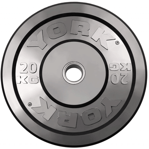 York Barbell | Solid Rubber Training Bumper Plates - Black - Kilos - XTC Fitness - Toronto, Canada