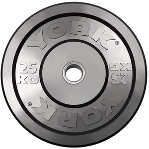 York Barbell | Solid Rubber Training Bumper Plates - Black - Kilos
