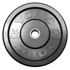 York Barbell | Solid Rubber Training Bumper Plates - Black - Pounds - XTC Fitness - Toronto, Canada