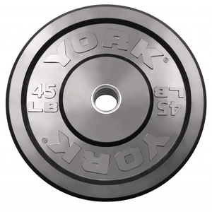 York Barbell | Solid Rubber Training Bumper Plates - Black - Pounds - XTC Fitness