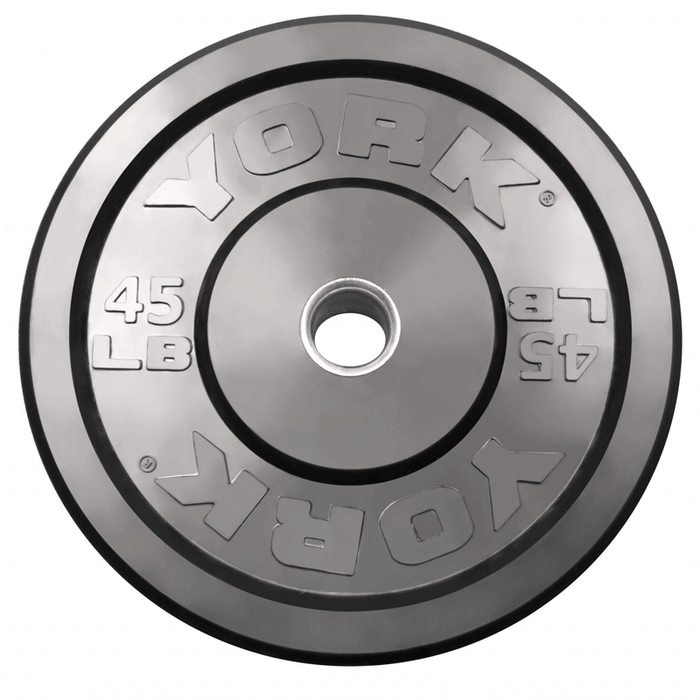York Barbell | Solid Rubber Training Bumper Plates - Black - Pounds
