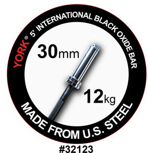 York Barbell | International Black Oxide Bar - 5ft (30mm) - XTC Fitness - Toronto, Canada