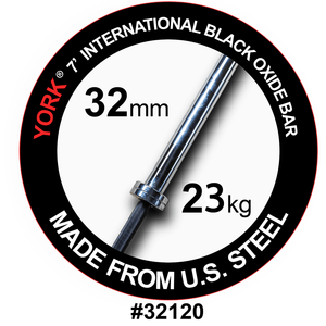York Barbell | International Black Oxide Bar - 7ft (32mm) - XTC Fitness - Toronto, Canada