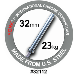 York Barbell | International Hard Chrome Bar - 7ft (32mm) - XTC Fitness - Toronto, Canada