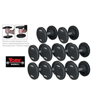 York Barbell | Dumbbells - Medial Grip Rubber Coated Pro Style - 5-50Lb SET - XTC Fitness