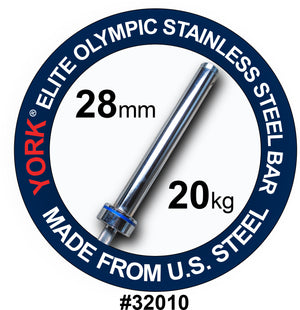 "York Barbell | Men's Stainless Steel Needle Bearing ""Elite"" Competition Bar - 28mm - XTC Fitness"