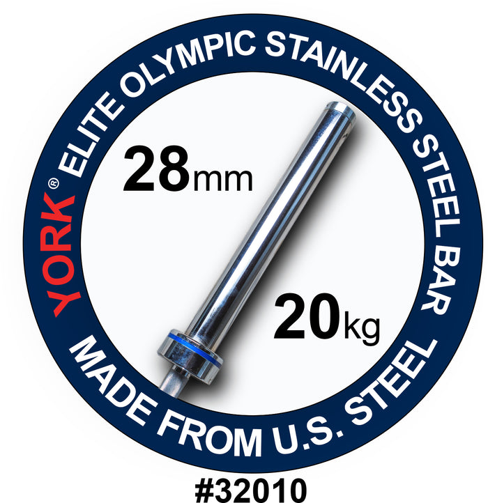 "York Barbell | Men's Stainless Steel Needle Bearing ""Elite"" Competition Bar - 28mm"