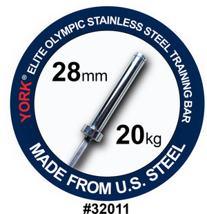 "York Barbell | Men's Stainless Steel ""Elite"" Training Bar w/ Bushings - 28mm - XTC Fitness"