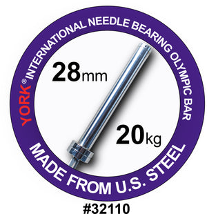 York Barbell | International Men's Needle-Bearing Olympic Training Bar (28mm) - XTC Fitness - Toronto, Canada