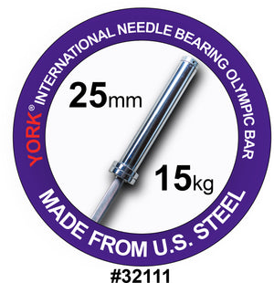 York Barbell | International Women's Needle-Bearing Olympic Training Bar - 6.5ft (25mm) - XTC Fitness
