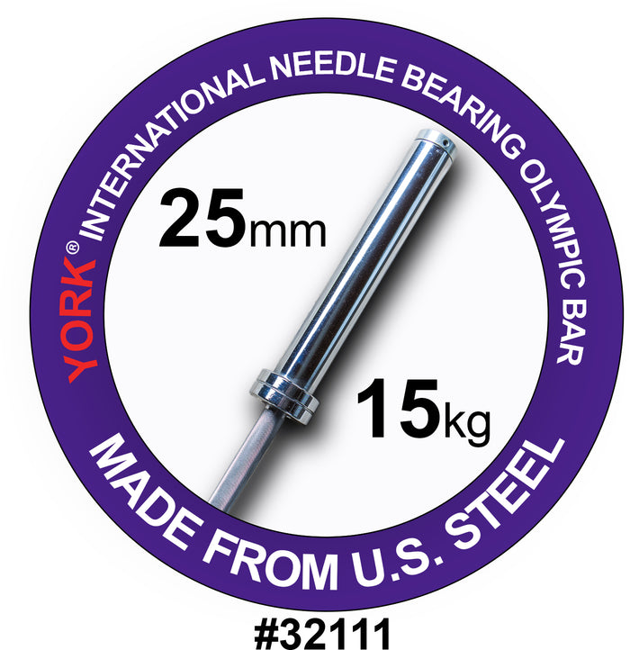 York Barbell | International Women's Needle-Bearing Olympic Training Bar - 6.5ft (25mm)