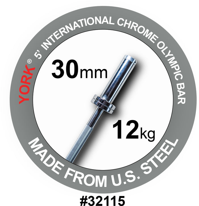 York Barbell | International Hard Chrome Bar - 5ft (30mm)