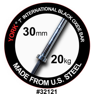York Barbell | International Black Oxide Bar - 7ft (30mm) - XTC Fitness - Toronto, Canada