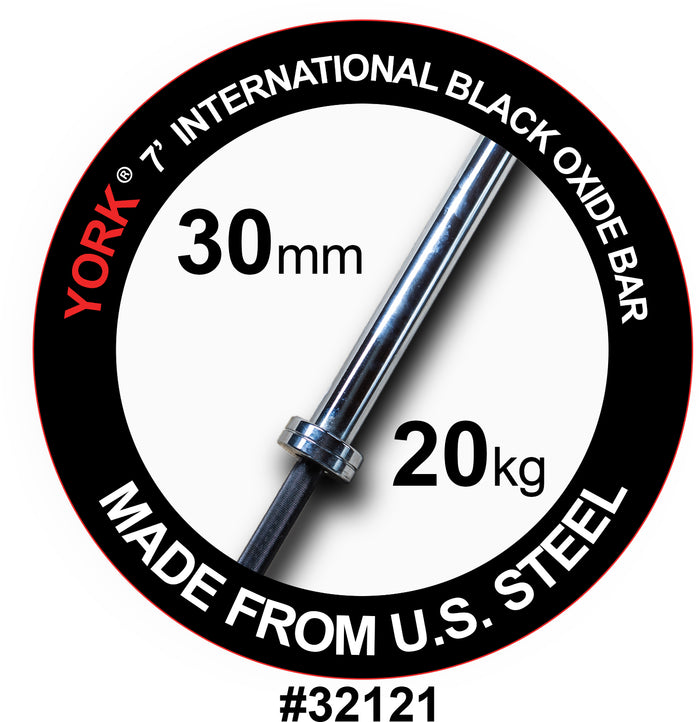 York Barbell | International Black Oxide Bar - 7ft (30mm)