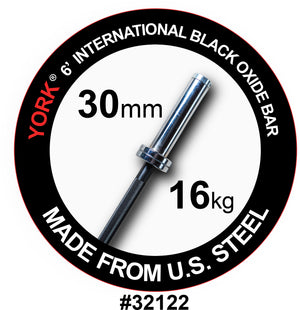 York Barbell | International Black Oxide Bar - 6ft (30mm) - XTC Fitness - Toronto, Canada