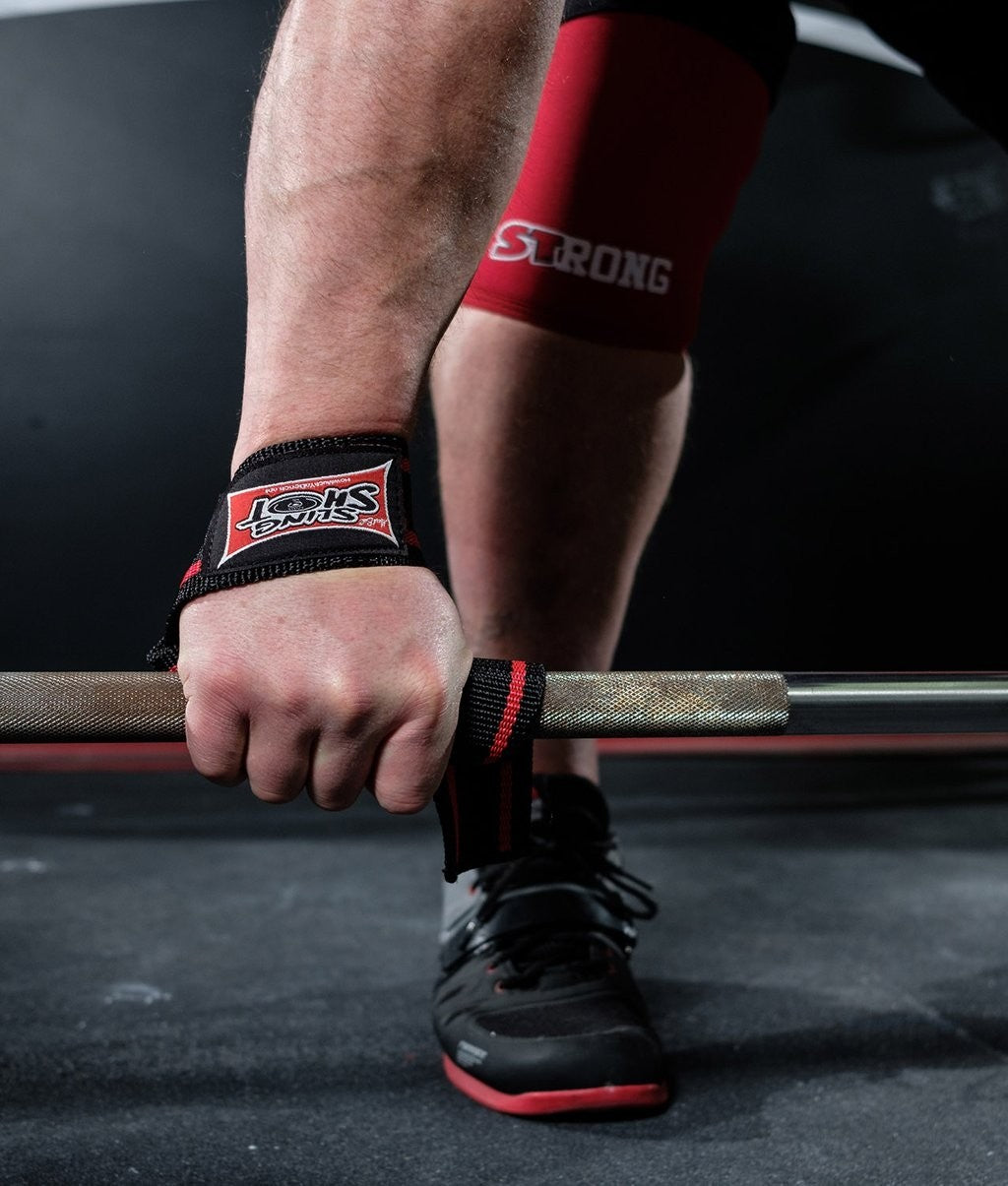 Sling Shot | Super Heavy-Duty Lifting Straps - Black/Red (pair)