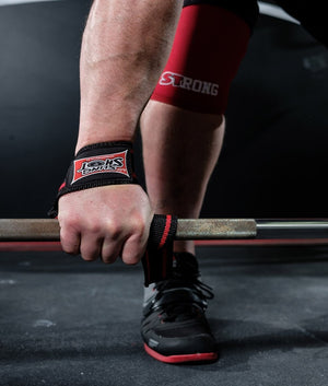 Sling Shot | Super Heavy-Duty Lifting Straps - Black/Red (pair) - XTC Fitness - Toronto, Canada