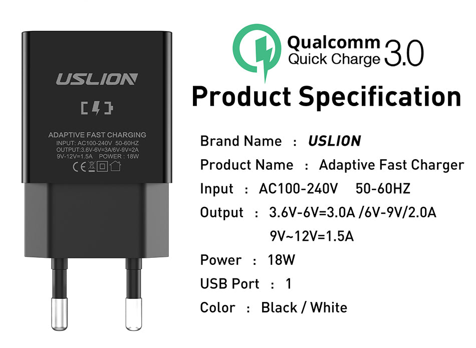USLION QC3.0 Fast Charging Wall Charger Travel Adapter