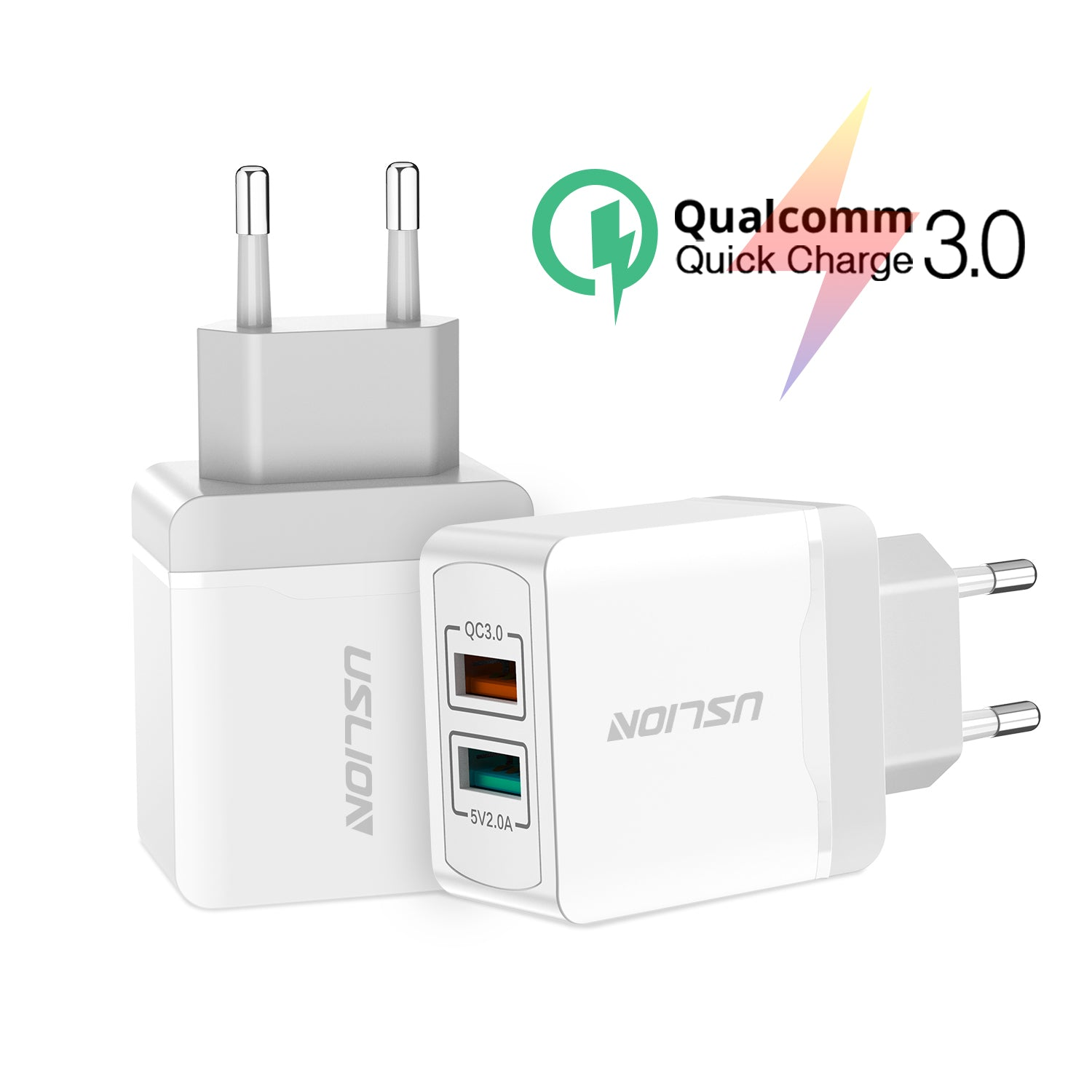 USLION QC3.0 Fast Charger Dual Port 18W Wall Charger