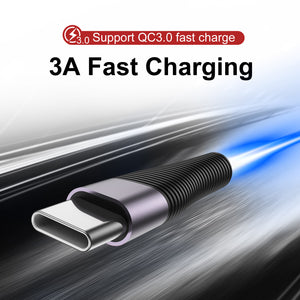 USLION 3M 3.0A Fast Charge USB Type C Cable For Samsung S10 Huawei P30 Pro