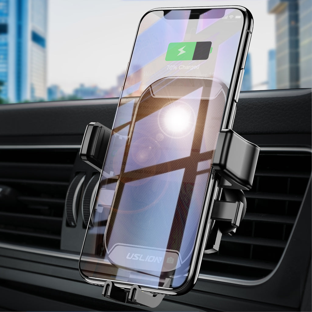 Uslion 2 IN 1 Car Air Vent Mount & Wireless Charger Hands Free Auto Phone Hanger for Smartphones