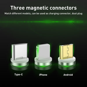 USLION Micro Usb Type c Magnetic Cable For Samsung S9 2.1A Microusb&Type-c Android iPhone 1M